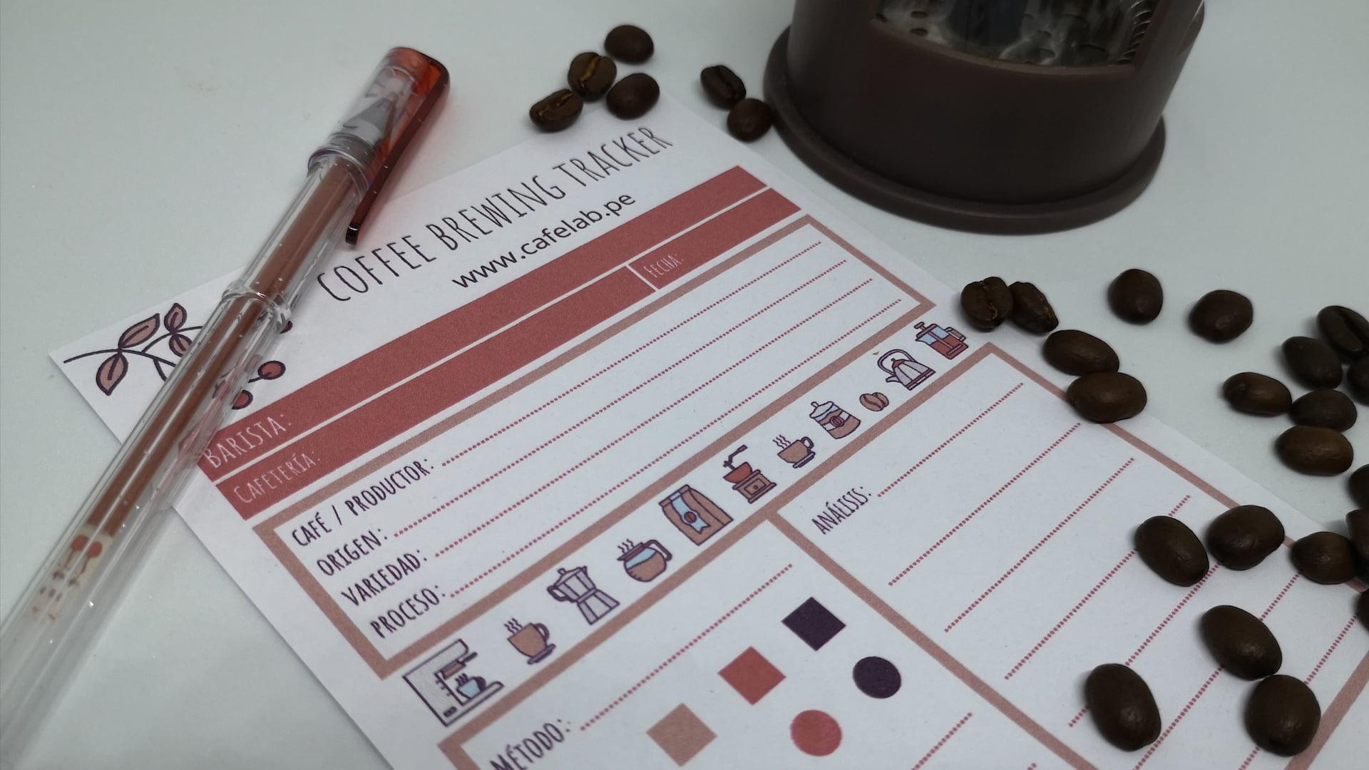 Descarga nuestro Coffee Brewing Tracker para que anotes todos los detalles de tu café